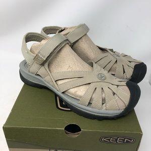 NIB Kwen Rose Neutral Tan Gray Sandals 6